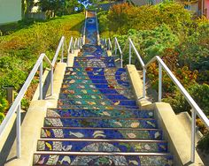 There are 163 mosaic panels—one for each step—that make up this staircase at 16th Avenue and Moraga in San Francisco's Golden Gate Heights neighborhood. The panels begin depicting the ocean and, by the time you reach the highest step, you're in the sky with the birds.