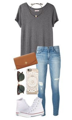"""96 ON HISTORY TEST!!!"" by whalesandprints ❤ liked on Polyvore featuring Organic by John Patrick, Current/Elliott, Tory Burch, Converse, Ray-Ban and Casetify"