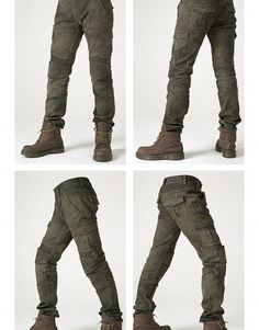 UGLYBROS Motorpool Olive Motorcycle Pants • 4 cargo flap pockets • 11oz stretched Cotton (Cotton 97%, Spandex 3%) • Elastic shirring knee & waist-lower back panels • CE approved Removable knee & hip protectors included • YKK® Zipper • POWERTECTOR®