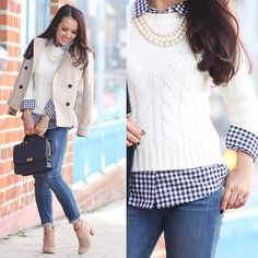 StylishPetite.com   Cream cable knit sweater, petite gingham shirt, suede ankle booties, fall fashion, fall outfit, cold outfits, petite fashion, cropped trench coat