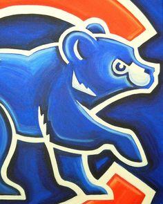 Chicago Cubs logo painting baseball sports art by crockerart, $50.00