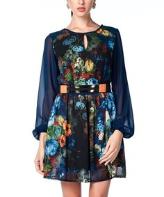 Another great find on #zulily! Blue Sheer Floral Belted Dress by Palmetto Paris #zulilyfinds