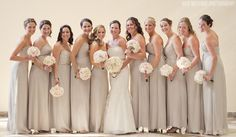 So simple and stunning neutral bridesmaid dresses. Shop The Dessy chiffon collection at Brideside.com