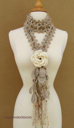 Queen Ann Rose Lariat Cream por gsakowskidesigns en Etsy