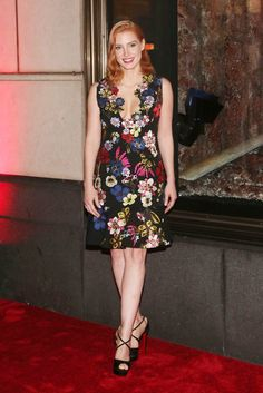 Jessica Chastain wears a floral Erdem dress with strappy Christian Louboutin heels