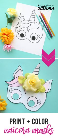 Cute UNICORN mask to print and color | by It's always Autumn""