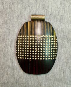Polymer clay pendant focal bead - blend stripes texture dots gold mahogany | Flickr – Condivisione di foto!