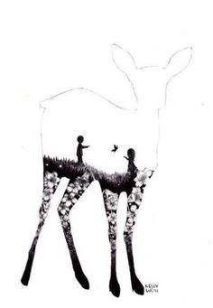 A picture of a doe depicting of what I believe as Lily and Severus playing in a meadow. -Ellen
