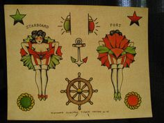 Original painting nautical maritime theme vintage style tattoo flash. $100.00, via Etsy.