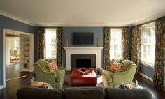Rariden, Schumacher & Mio Interior Design Blue living room, bright Ikat cushions
