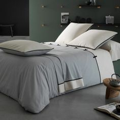Draps Design, Linen Bedding, Bedding Sets, Indoor Outdoor Furniture, Home Textile, Bed Sheets, Grey And White, Duvet Covers, Sweet Home