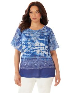In The Clouds Top | Catherines  A cloud-inspired print combines with detailed scrolls in this casually elegant top. A complementary border design fades to a solid hem. Flutter sleeves offer a feminine finish. This style is available in both average and petite plus sizes. #catherinesplus #plussize #plussizefashion #petiteplus