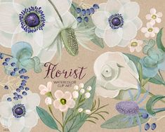 Watercolor florist, flower bouquet, anemone, rose, eucalyptus, hand painted, florals, cards, card, rustic wedding, invitation, save the date