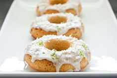 Homemade Key Lime Donuts...they are sugar free if you don't make the glaze...could easily be altered to be vegan...great recipe!
