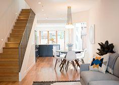 San Francisco Interior Design company Regan Baker Design -  Nopa Classic Casual Dining Room, Open Plan Midcentury Modern, Dining Pendant Lighting, Blue Cabinetry, Southwestern Styling
