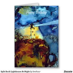 Split Rock Lighthouse At Night Greeting Card http://www.zazzle.com/split_rock_lighthouse_at_night_greeting_card-137003512070476667