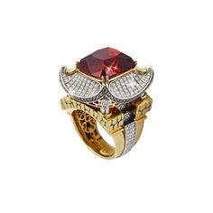"""""""The imperial"""" Ring from Gevorgian® - 18k yellow and white gold with purple tourmaline and diamonds in the form of a Chinese pagoda. (=)"""