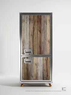 re purposed wood ..refrigerator
