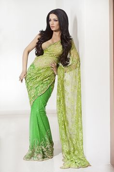 Bored of georgette s & nets & traditional saris ?  Adorn yourself in a vibrantly solid coloured #lace with a elegant plain blouse and make his heart race .., just like this beautiful lace saree worn by #celina #celinajaitly #bollywood #stunning #Saree