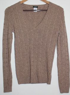 $35.95 OBO Women's J. Crew Brown Cashmere Blend V Neck Cable Knit Sweater Size: XS #JCrew #VNeck #freeshipping