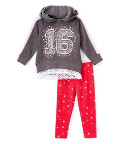 Another great find on #zulily! Real Love Gray Lace-Hem Hoodie & Red Leggings - Infant, Toddler & Girls by Real Love #zulilyfinds