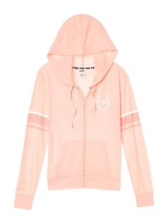 Lightweight Jersey Full-Zip Hoodie - PINK - Victoria's Secret