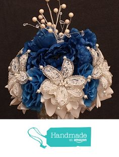 Royal Blue Beaded Lily Wedding BRIDAL Bouquet ~ Royal Blue and White with Peonies and Roses. Unique French beaded flowers and beaded sprays ~ Can also be used for centerpiece or ceremony flowers! from Glorious Beads http://www.amazon.com/dp/B017PMZ550/ref=hnd_sw_r_pi_dp_DPNpwb1RKADZG #handmadeatamazon