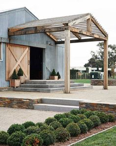 Pergola above barn entrance - best modern farmhouse exterior design ideas by bertha Modern Farmhouse Exterior, Farmhouse Style, Coastal Farmhouse, Farmhouse Interior, Farmhouse Ideas, Rustic Exterior, Country Style Houses, Farmhouse Sinks, Industrial Farmhouse
