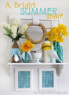 Summer Shelf Decor- Bright and Cheerful!