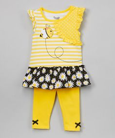 This Yellow Bee Ruffle Tunic & Leggings - Infant, Toddler & Girls is perfect! #zulilyfinds