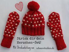 Herzchen Handschuhe und Mütze stricken schoenstricken.de