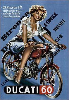 Ducati pin up Bike Poster, Motorcycle Posters, Motorcycle Art, Bike Art, Classic Motorcycle, Motorcycle Girls, Vintage Advertisements, Vintage Ads, Vintage Posters