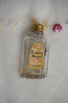 small mini vintage antique glass perfume bottle Cashmere bouquet Colgate decor