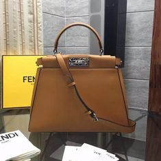 88249e9d2211 Fendi Calfskin Peekaboo Regular Bag with Multicolor Bar Ginger(Top)      Real Purse