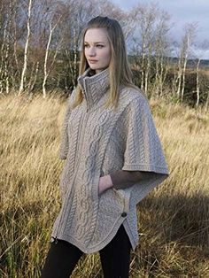 100% Merion Wool Aran Crafts Ladies Knit Double Collar Poncho, Parsnip