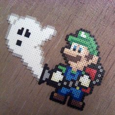 Luigi perler beads by jaynechains Perler Bead Designs, Perler Bead Templates, Hama Beads Design, Pearler Bead Patterns, Diy Perler Beads, Perler Patterns, Pearler Beads, Fuse Beads, Pokemon