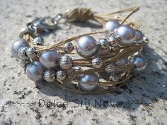 String bracelet silver and grey beads  fiber jewelry by khaliweb, $22.00