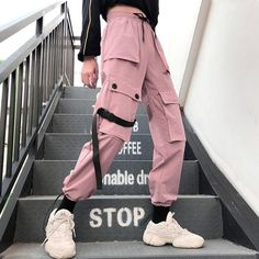 Special Offer of Autumn Streetwear women's pants embroidery Casual Cargo Pants Women Joggers Solid Big Pocket Pants High Waist Loose Female . Cargo Pants Women, Pants For Women, Clothes For Women, Jeans Women, Ladies Pants, Trousers Women, Mode Kpop, Pantalon Cargo, Edgy Outfits