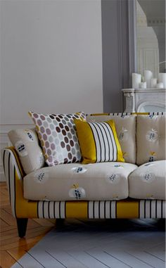 Charm and seduction, opposition of materials, of rhythms and colours. Pierre Frey, Fabric Combinations, So Creative, Beautiful Homes, House Beautiful, Pattern Mixing, Decoration, Textile Art, Home Accessories