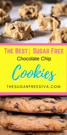 These yummy chocolate chip cookies have no added sugar in them. Make these cookies sugar free with low carb and gluten free options! Great  homemade diy recipe for holiday baking, snacks, desserts, treats, and more! No Bake Snacks, Baking Snacks, Easy Baking Recipes, Fun Easy Recipes, Easy Cookie Recipes, Best Dessert Recipes, Brownie Recipes, Fun Desserts, Real Food Recipes