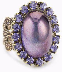 """""""Piedras"""" Purple Swarovski Crystal and Glass Ring #unusualengagementrings"""