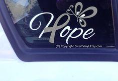 Hope Gray Awareness Ribbon Window Decal Brain Tumor by directvinyl