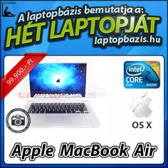 "Apple MacBook Air A1237 laptop, ultra vékony, Intel Core 2 Duo L7500, 13,3"" LCD kijelző, webkamera, WiFi  Ár: 99 900.- Ft"