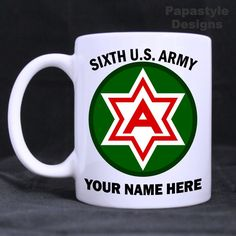 6th US Army Personalized 11oz Coffee Mugs Made in the USA. #Handmade