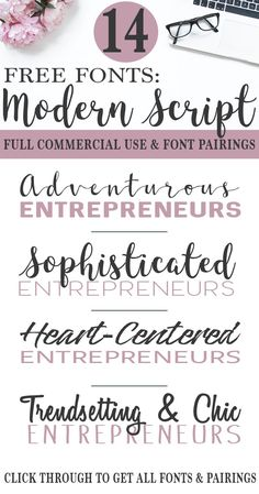 Gorgeous Free Commercial Use Script Fonts and Pairings - Entrepreneurs - Ideas of Buying First House Calligraphy Fonts, Typography Fonts, Free Brush Script Font, Cursive Fonts, Free Handwritten Script Fonts, Monogram Fonts, Free Handwriting Fonts, Monogram Letters, Modern Calligraphy Font Free
