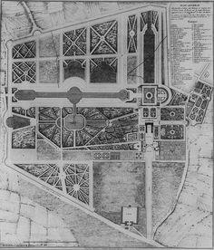 Château de Sceaux, Francja. Założenie posiada oś główną z typowymi elementami w układzie entre cour et jardin: aleją dojazdową, trzema dziedzińcami, pałacem i parterami ogrodowymi. Oś zamyka długi gazon otoczony boskietami. Całość założenia uzupełniają dwie osie poprzeczne oraz liczne mniejsze osie w obrębie parku.