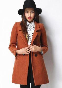 Khaki Plain Double Breasted Tailored Collar Wool Coat