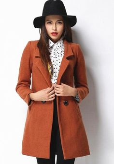 Khaki Plain Double Breasted Tailored Collar Wool Coat