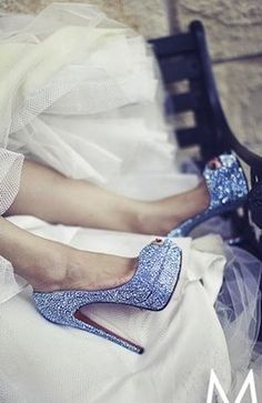 Sparkly blue red bottom heels #glitter #shoes #heels