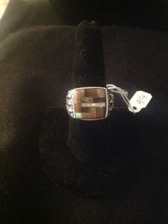 Southwest Mens sterling silver,opal and multi stone rings size 9.25